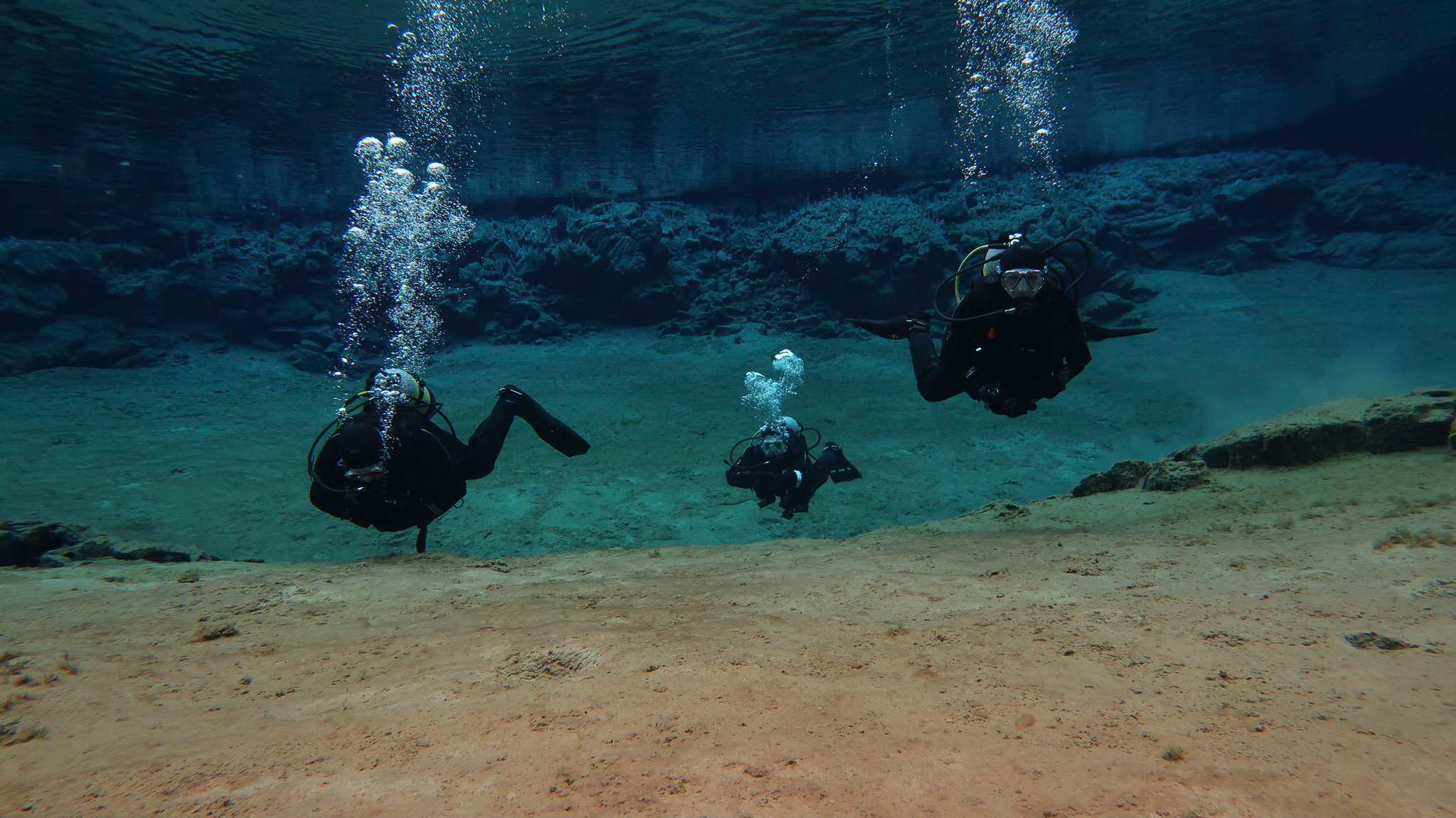Incredibly clear waters at Silfra Fissure in Iceland. Photo by Tania Roque of DIVE.IS